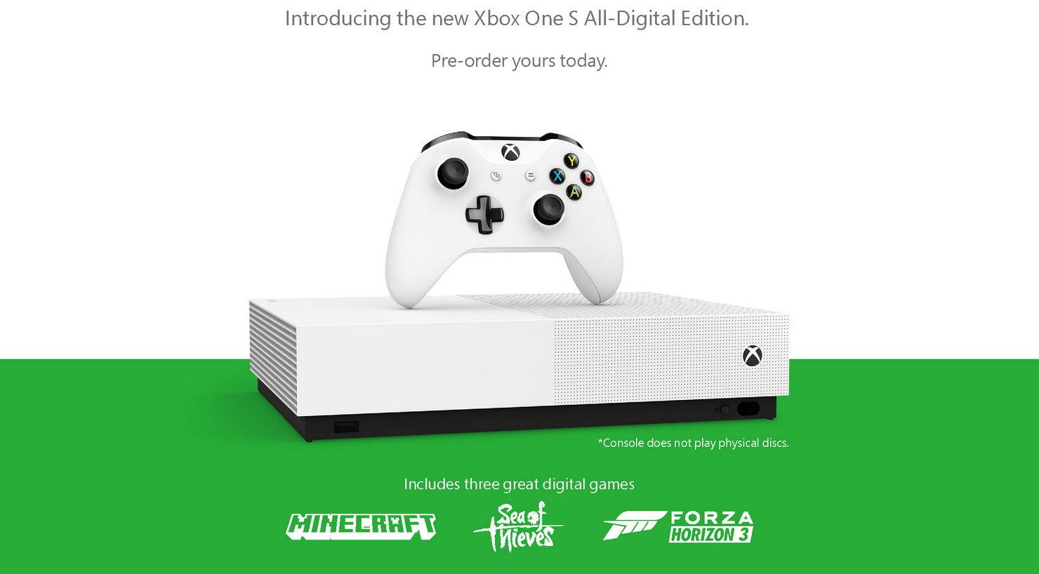 Microsoft выпускает версию Xbox One без привода и объединяет Xbox Game Pass с Xbox Live Gold